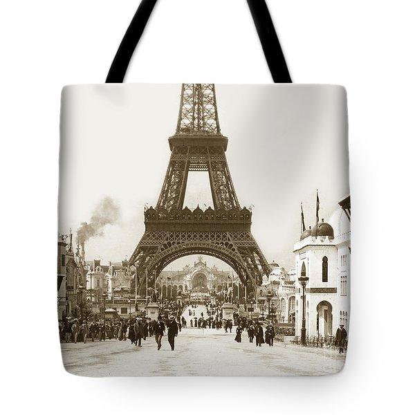 Paris Exposition Eiffel Tower Paris France 1900  Historical Photos Tote Bag