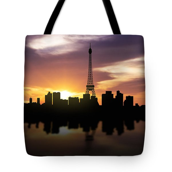 Paris France Sunset Skyline  Tote Bag by Aged Pixel