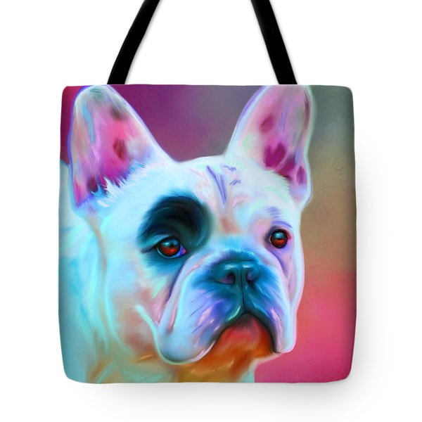 Vibrant French Bull Dog Portrait Tote Bag by Michelle Wrighton