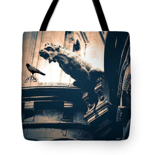 Paris Gargoyles - Gothic Paris Gargoyle With Raven - Sacre Coeur Cathedral - Montmartre Tote Bag by Kathy Fornal