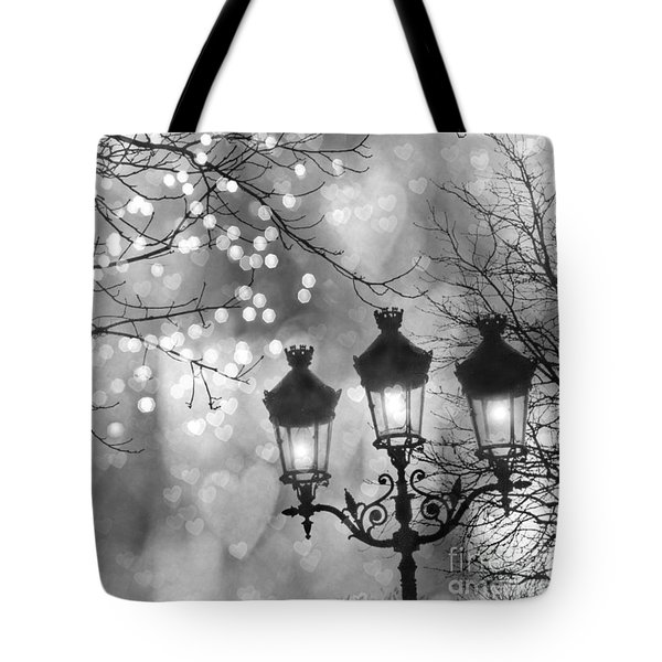 Paris Christmas Sparkle Lights Street Lanterns - Paris Holiday Street Lamps Black And White Lights Tote Bag