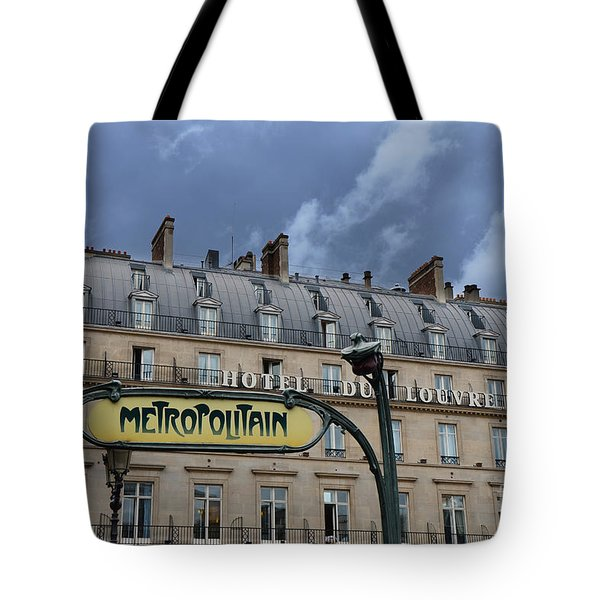 Paris Metropolitain Sign At The Paris Hotel Du Louvre Metropolitain Sign Art Noueveau Art Deco Tote Bag by Kathy Fornal