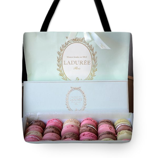 Paris Laduree Macarons - Dreamy Laduree Box Of French Macarons With Laduree Bag  Tote Bag