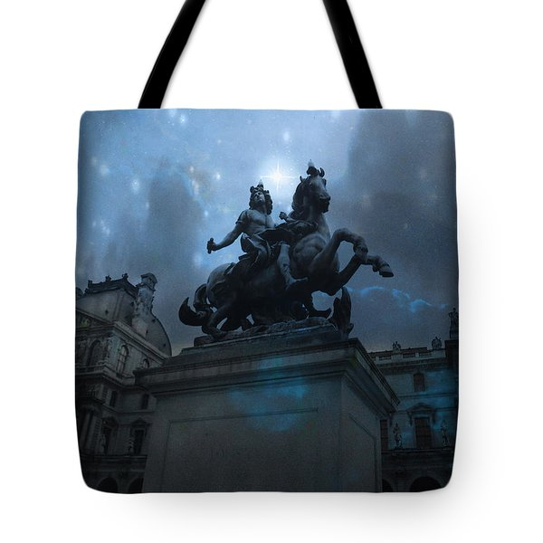 Paris Louvre Museum Blue Starry Night - King Louis Xiv Monument At Louvre Museum Tote Bag by Kathy Fornal