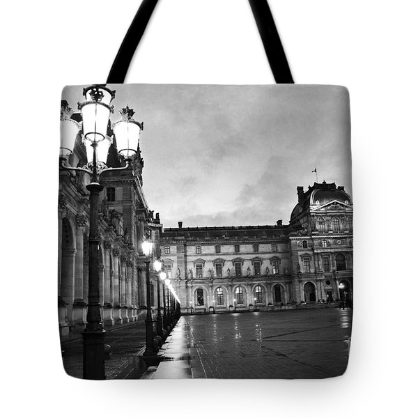 Paris Louvre Museum Lanterns Lamps - Paris Black And White Louvre Museum Architecture Tote Bag by Kathy Fornal