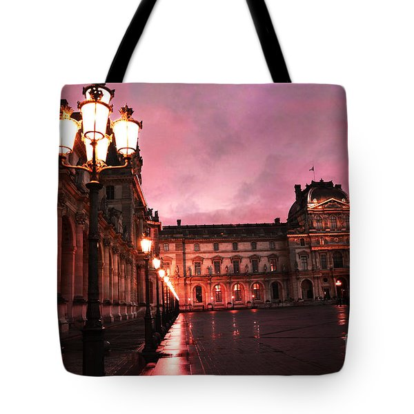 Paris Louvre Museum Night Architecture Street Lamps - Paris Louvre Museum Lanterns Night Lights Tote Bag by Kathy Fornal