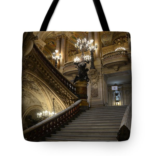 Paris Opera Garnier Grand Staircase - Paris Opera House Architecture Grand Staircase Fine Art Tote Bag by Kathy Fornal