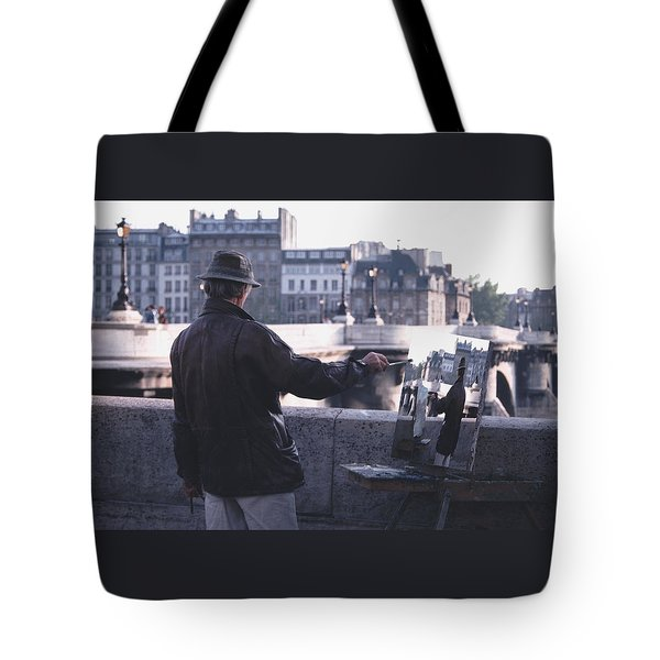 Paris Painter Inspiration Magritte Tote Bag by Tom Wurl