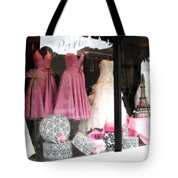 Paris Pink White Bridal Dress Shop Window Paris Decor Tote Bag
