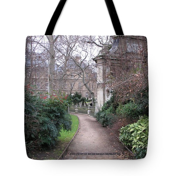 Paris Romantic Parks - Luxembourg Gardens - Medici Fountain Park - Pathway To Luxembourg Gardens Tote Bag by Kathy Fornal