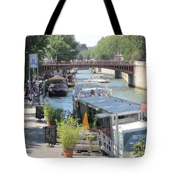 Tote Bag featuring the photograph Paris - Seine Scene by HEVi FineArt