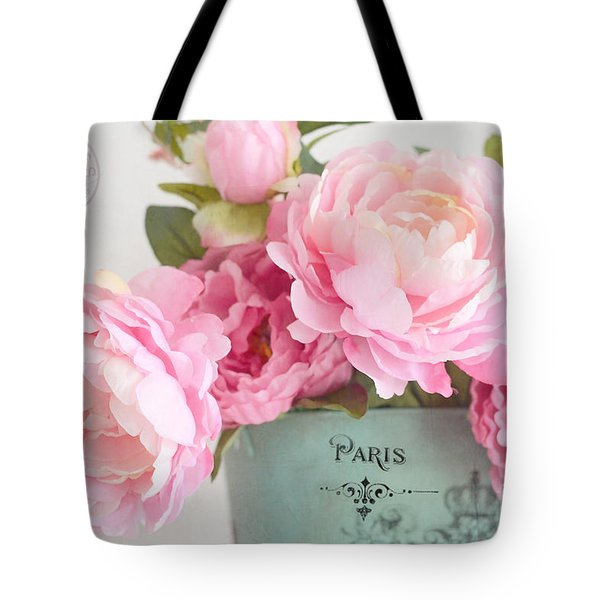 Paris Peonies Shabby Chic Dreamy Pink Peonies Romantic Cottage Chic Paris Peonies Floral Art Tote Bag by Kathy Fornal