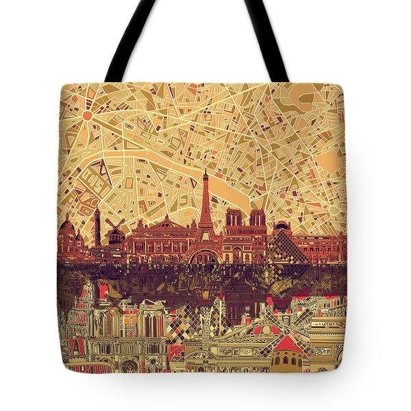 Paris Skyline Abstract Sepia Tote Bag