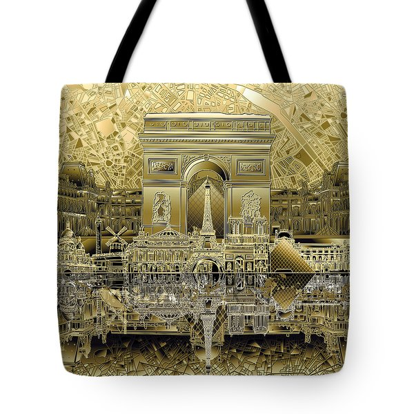 Paris Skyline Landmarks 4 Tote Bag