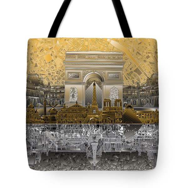 Paris Skyline Landmarks 5 Tote Bag
