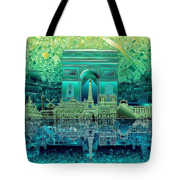 Paris Skyline Landmarks 6 Tote Bag