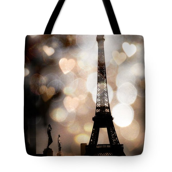 Paris Surreal Fantasy Sepia Black Eiffel Tower Bokeh Hearts And Circles - Paris Eiffel Tower Hearts  Tote Bag