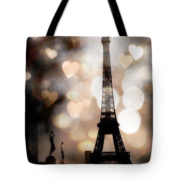 Paris Surreal Fantasy Sepia Black Eiffel Tower Bokeh Hearts And Circles - Paris Sepia Fantasy Nights Tote Bag by Kathy Fornal