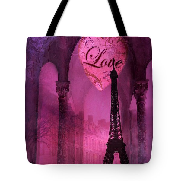 Paris Romantic Pink Fantasy Love Heart - Paris Eiffel Tower Valentine Love Heart Print Home Decor Tote Bag