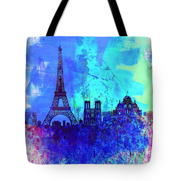 Paris Watercolor Skyline Tote Bag