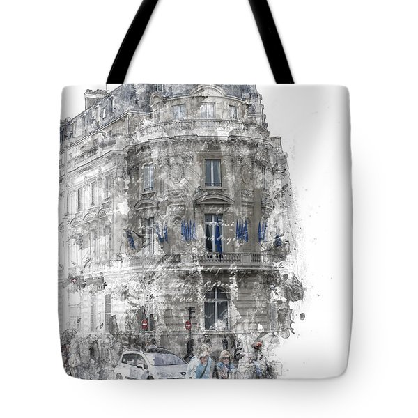 Paris With Flags Tote Bag