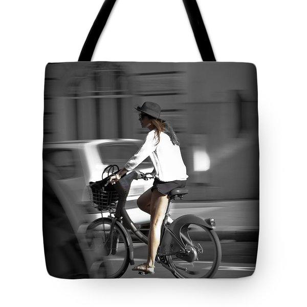 Parisian Girl Cyclist Tote Bag