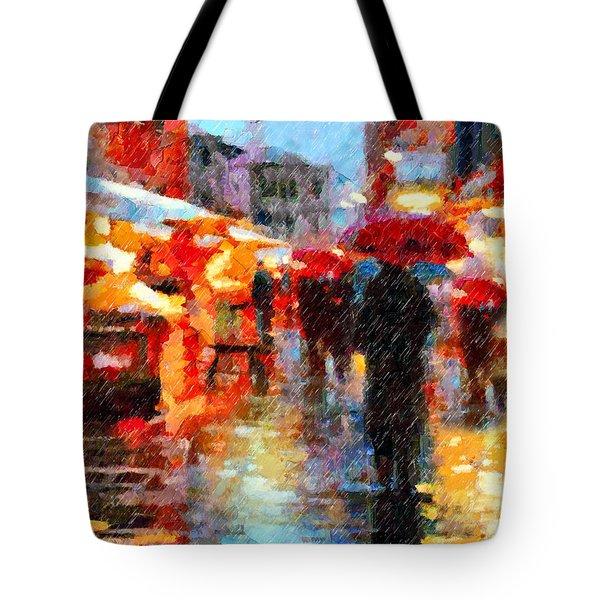 Tote Bag featuring the painting Parisian Rain Walk Abstract Realism by Isabella Howard