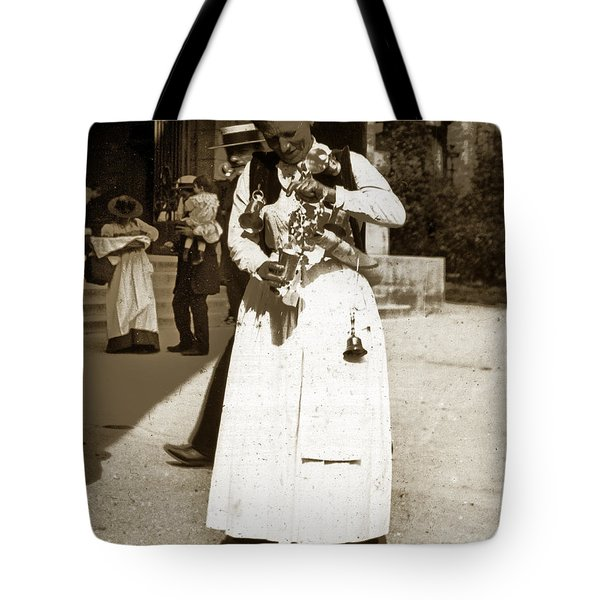 Tote Bag featuring the photograph Parisian Woman Lady Paris France 1900 Historical Photo by California Views Mr Pat Hathaway Archives