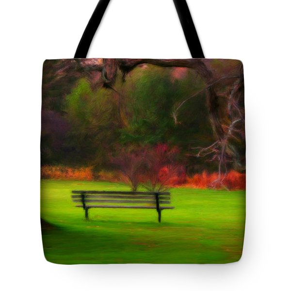 Tote Bag featuring the painting Park Bench by Bruce Nutting