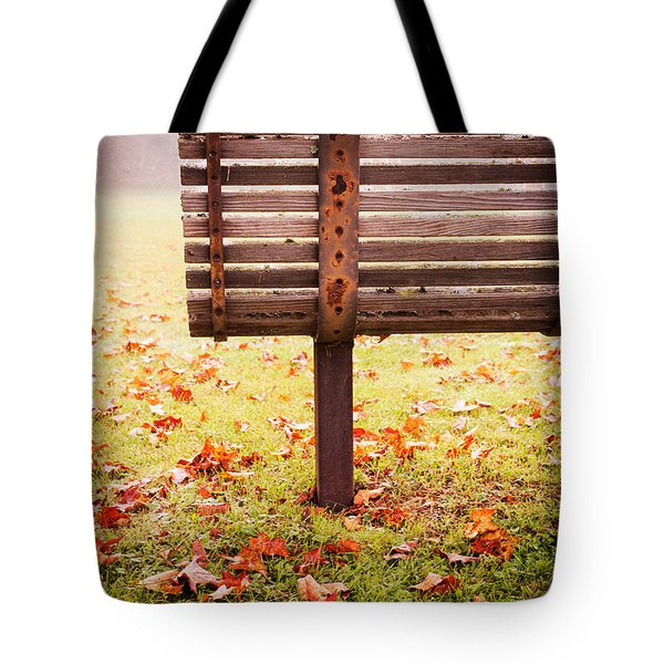Park Bench In Autumn Tote Bag by Edward Fielding