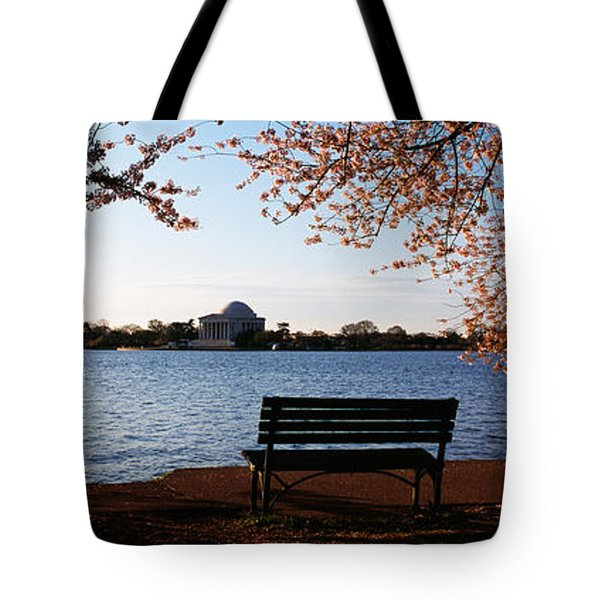 Park Bench With A Memorial Tote Bag