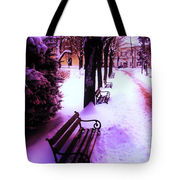 Tote Bag featuring the photograph Park Benches In Snow by Nina Ficur Feenan
