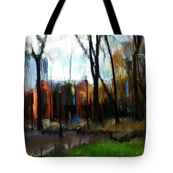 Tote Bag featuring the mixed media Park Block I by Terence Morrissey