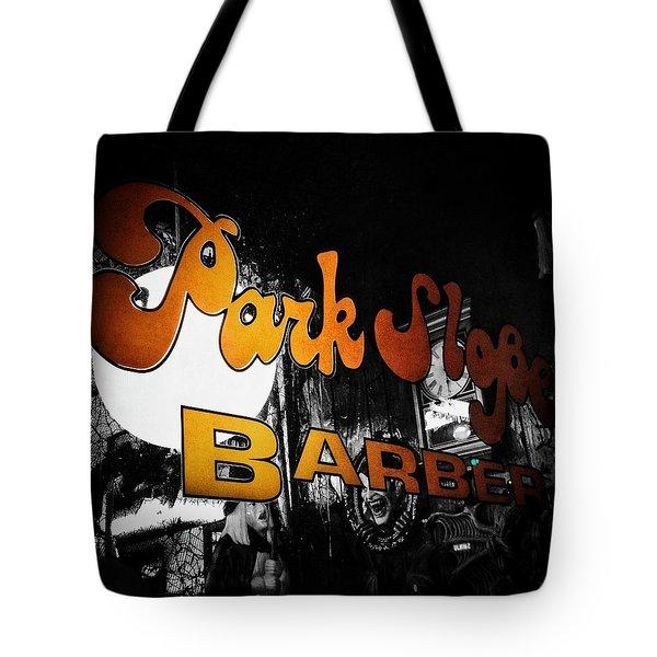 Park Slope Barber Tote Bag by Natasha Marco
