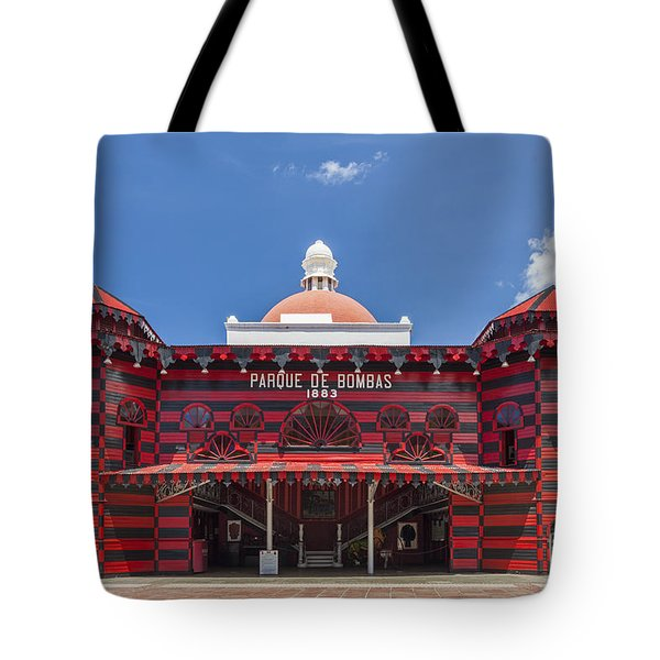 Tote Bag featuring the photograph Parque De Bombas Fire Station In Ponce Puerto Rico by Bryan Mullennix