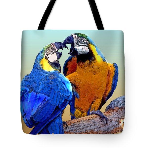 Parrot Passion 2 Tote Bag by Linda  Parker