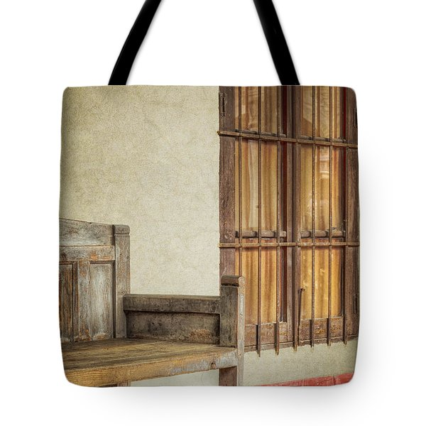 Part Of A Bench Tote Bag by Joan Carroll