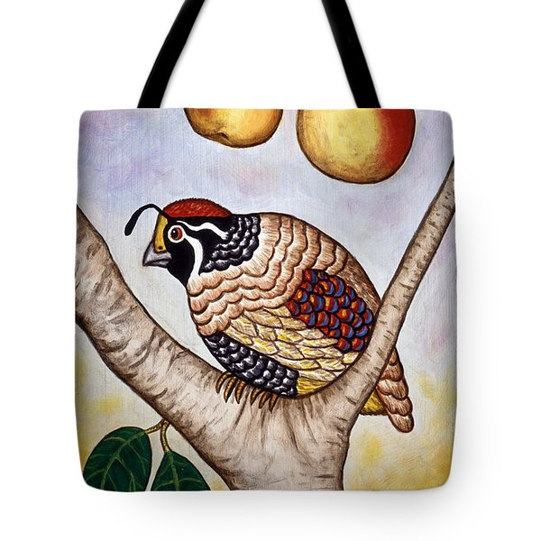 Partridge In A Pear Tree Tote Bag by Linda Mears