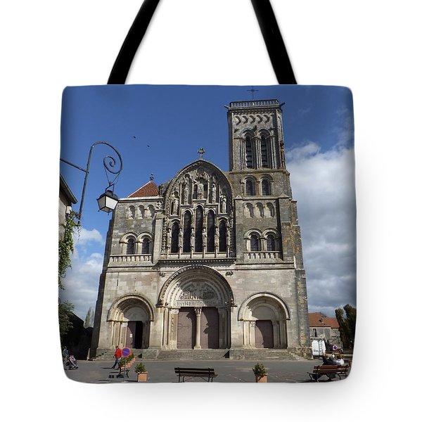 parvis de la Basilique Sainte-Marie-Madeleine de Vezelay Tote Bag by Marc Philippe Joly
