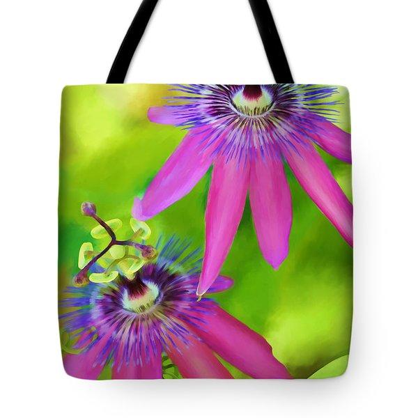 Passiflora Piresii Vine  - Passiflora Twins Tote Bag by Michelle Wiarda