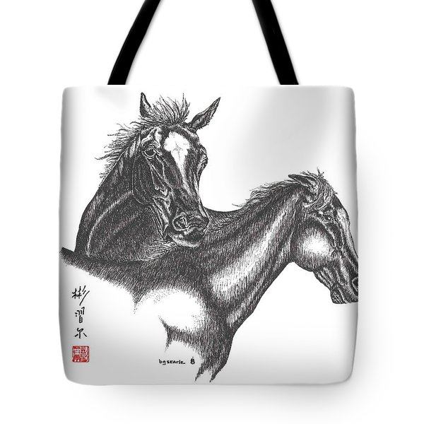 Tote Bag featuring the drawing Passion by Bill Searle