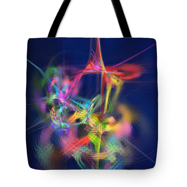 Tote Bag featuring the digital art Passion Nectar - Circling The Flower Of Paradise by Menega Sabidussi