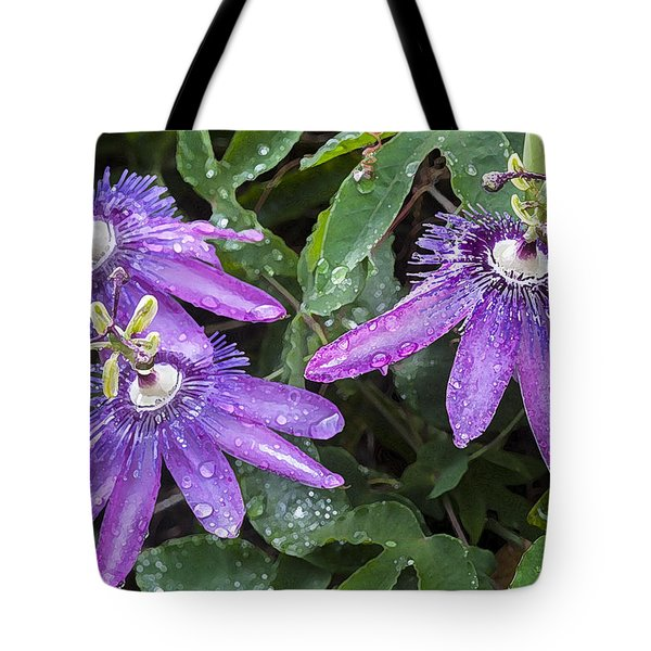 Passion Vine Flower Rain Drops Tote Bag by Rich Franco