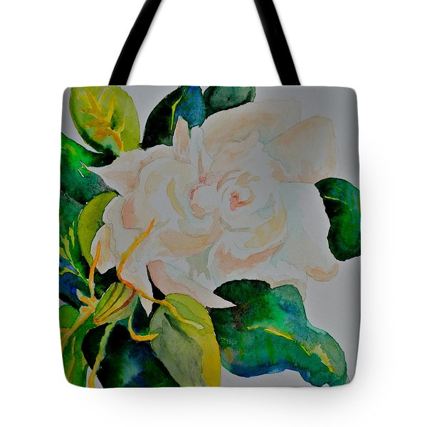 Tote Bag featuring the painting Passionate Gardenia by Beverley Harper Tinsley
