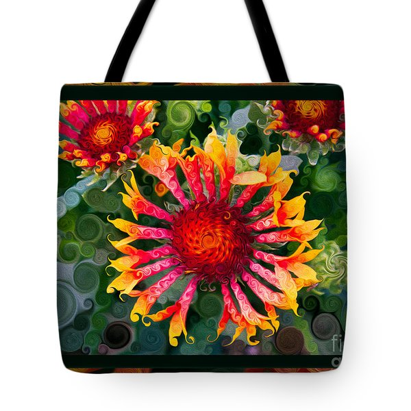 Passionate Pinwheels And Blooming Abstract Flower Art Tote Bag by Omaste Witkowski