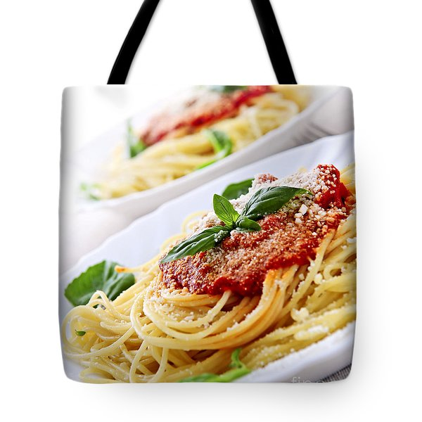 Pasta And Tomato Sauce Tote Bag by Elena Elisseeva