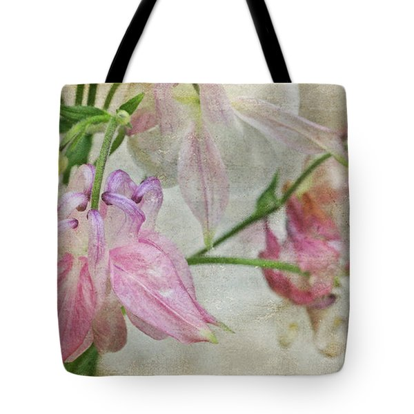 Tote Bag featuring the photograph Pastel Columbines by Peggy Collins