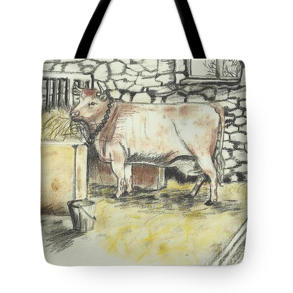Cow In A Barn Tote Bag