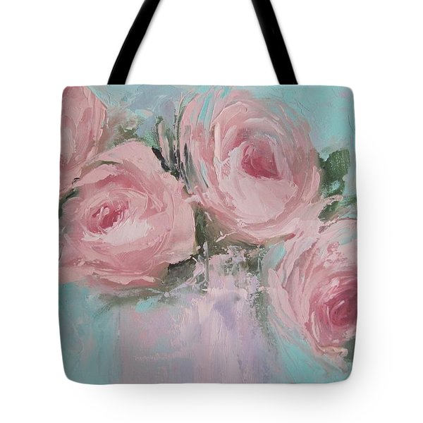Pastel Pink Roses Painting Tote Bag by Chris Hobel