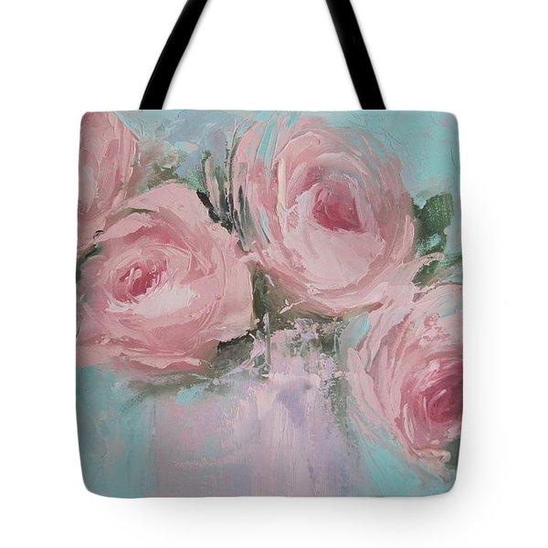 Pastel Pink Roses Painting Tote Bag